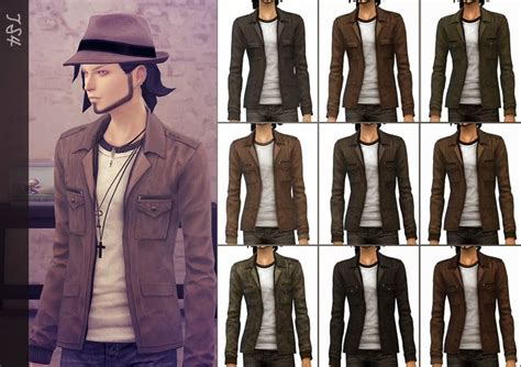 Mochi Mocca Blazer Coat Korea my sims 4 jacket with t shirt for males by mochi029
