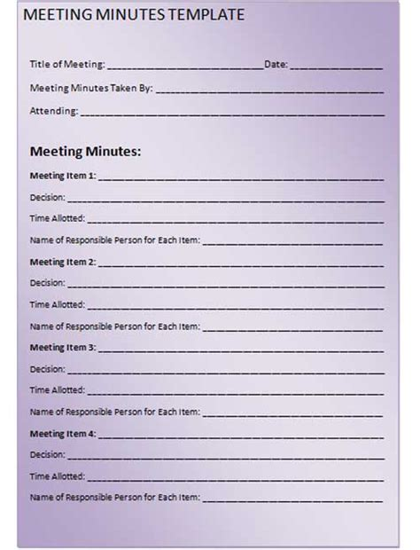 Simple Minutes Template by Meeting Minutes Template Cyberuse