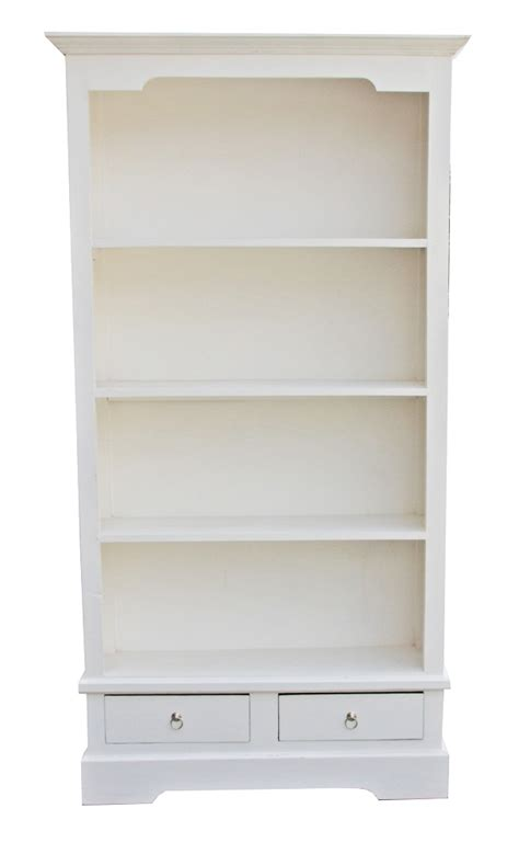Angela Bookcase Distressed White White Distressed Bookcase