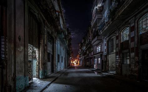 landscape street urban havana cuba lights
