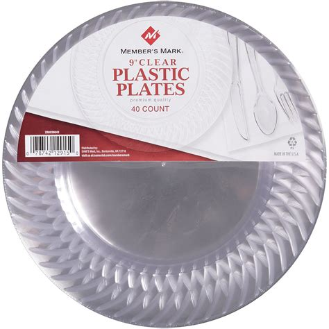 """Member's Mark Clear Plastic Plates   9""""/40 ct."""
