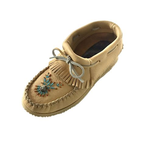 moccasins shoes for womens real genuine moose hide leather ankle high