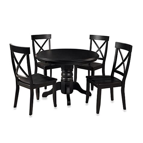Black Pedestal Dining Table Set Buy Home Styles Solid Wood 5 Pedestal Table Dining Set In Black Finish From Bed Bath Beyond
