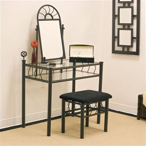wrought iron frosted black makeup vanity table set with