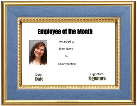 employee of the month template free custom employee of the month certificate