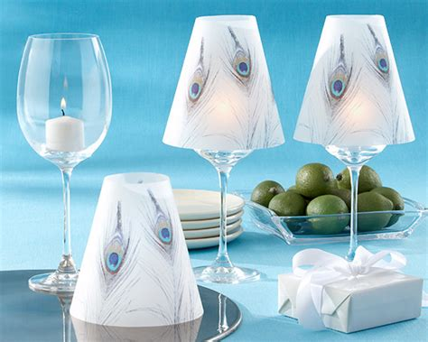 Peacock L Shade by 24 Peacock Plume Vellum Wine Glass Shades Wedding Ebay