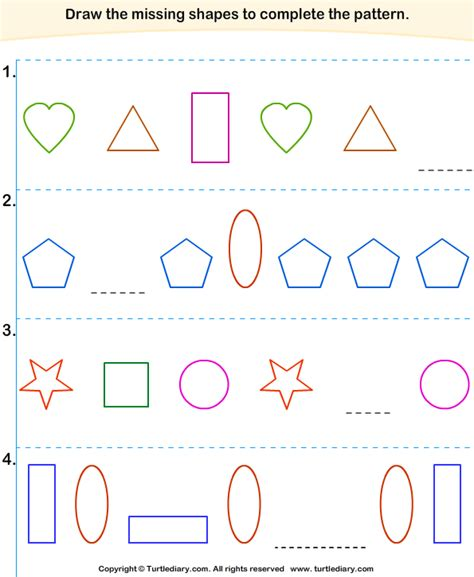 finding a pattern in math find pattern in each sequence of shapes worksheet turtle