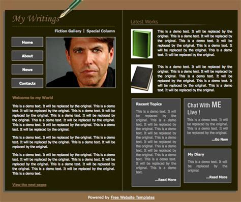 Book Author Template Free Website Templates Author Website Template