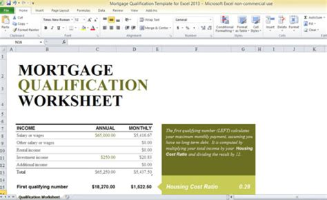 Mortgage Qualification Template For Excel 2013 Mortgage Qualification Worksheet Template Excel