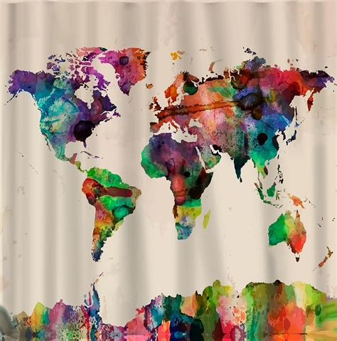 world map curtains custom shower curtains watercolor world map standard by