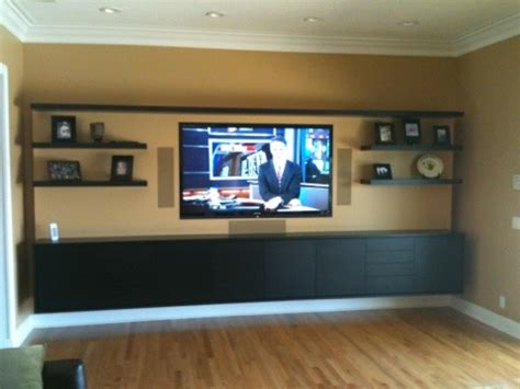 entertainment wall with floating shelves liberty