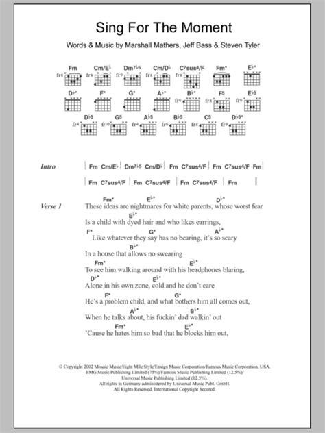 eminem sing for the moment lyrics sing for the moment by eminem guitar chords lyrics
