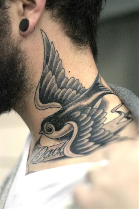 tattoo designs neck male 45 bird tattoos for and inspirationseek