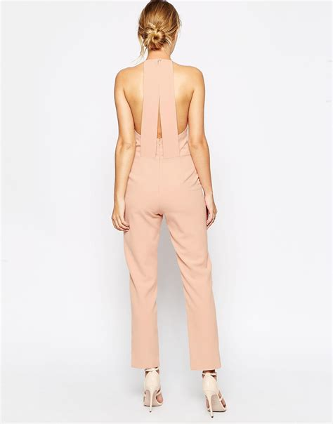 Jumpsuit Pink Premium lyst asos premium halter neck jumpsuit in pink