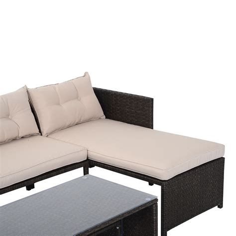 rattan wicker sofa outsunny 3 outdoor rattan wicker patio sofa and