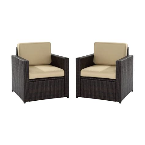 Shop Crosley Furniture Palm Harbor 2 Count Brown Wicker Lowes Wicker Patio Furniture