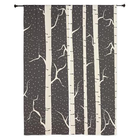 Birch Tree Design Curtains 84 In Black And Tan