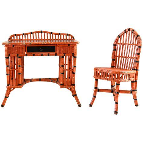 Wicker Vanity Set Orange And Black Painted Wicker Vanity Set For Sale At 1stdibs