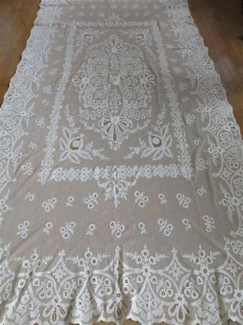lace bedspreads and curtains antique french cornelli lace hand embroidered curtain