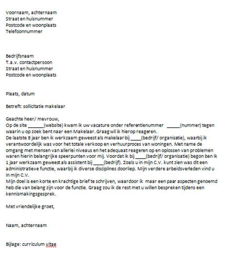 voorbeeld motivatiebrief administratief medewerker sollicitatiebrief makelaar