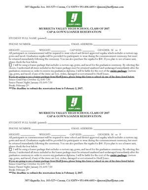 Reservation Letter For Items activities events asb graduation and senior