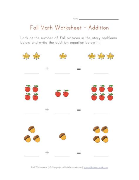 Free Fall Math Worksheets by Math Addition Worksheets For Kindergarten
