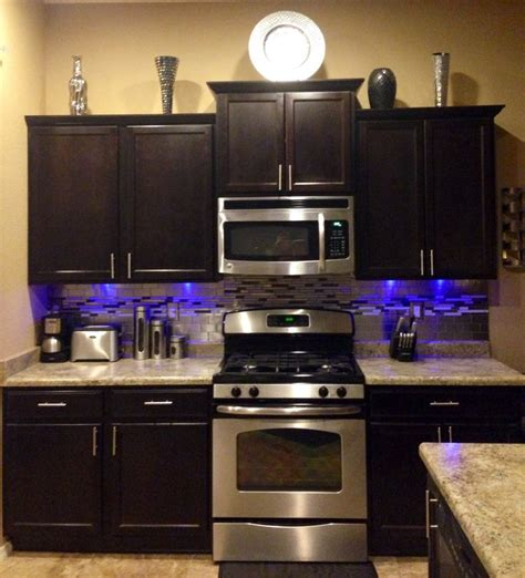led backsplash brown silver kitchen tile stainless steel backsplash