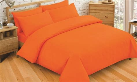 Bright Orange Bedding Set Plain Dyed Bright Orange Colour Bedding Duvet Quilt Cover Set Polyester Cotton