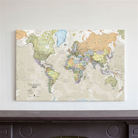 world map canvas classic map of the world canvas print by maps international notonthehighstreet