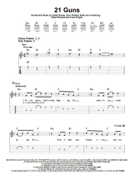 Guitar Tutorial 21 Guns   21 guns sheet music by green day easy guitar tab 83379