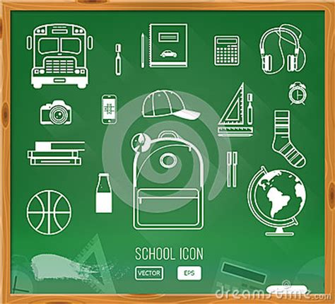 school supplies icon set back back to school background green desk with school stock