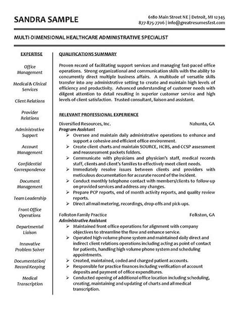 Resume Templates Healthcare Administration Healthcare Resume Exle Sle