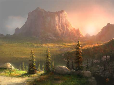 Landscape Pictures Settings Setting Sun Mountain Landscape By Jjpeabody On Deviantart