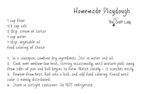Printable Playdough Recipes | homemade playdough printable recipe card the crazy