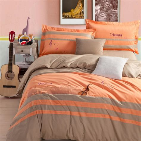 orange and grey comforter sets vienna bedding sets embroidery bed set grey 100 cotton