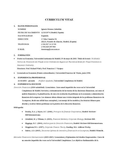 Modelo Curriculum Vitae Titulo Profesional Pin Crearlo Debe Llevar Como Titulo Curriculum Vitae O On