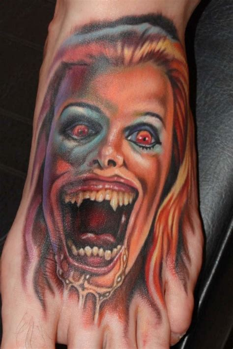 horror zombie tattoo on foot real photo pictures images horror movie like creepy colored female zombie tattoo on