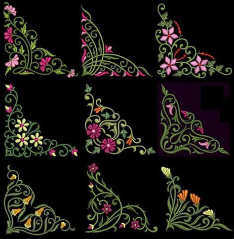 Emilia Embro floral corners machine embroidery design cd 4x4 for