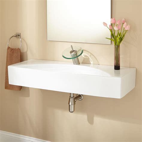 Exceptional Wall Mounted Sinks For Small Bathrooms #3: Wall-mounted-bath-sinks-in-white-plus-unique-faucet-for-bathroom-decoration-ideas-sterling-sinks-bath-vessel-sinks-bathroom-sinks-home-depot-square-vessel-sink-double-trough-sink-kohler-bath-sink.jpg