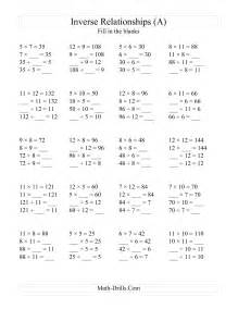 inverse relationships multiplication and division all