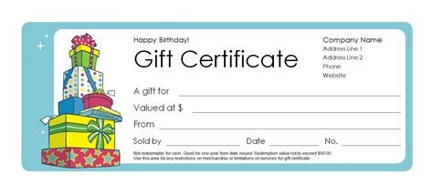 printable coupon gift template happy birthday gift certificate templates free images