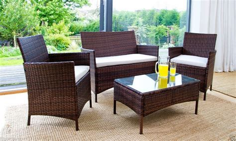 rattan garden furniture set 4 chairs sofa table
