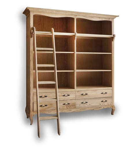 provincial furniture oak bookshelf with ladder