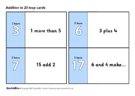 loop cards template primay school addition activities and sparklebox