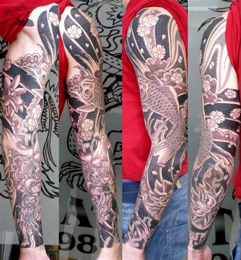 asian tattoo sleeve sleeve black and grey
