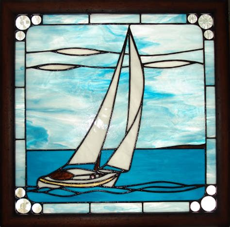 Sailboat Windows Designs At Designs Sailboat Stained Glass Panel