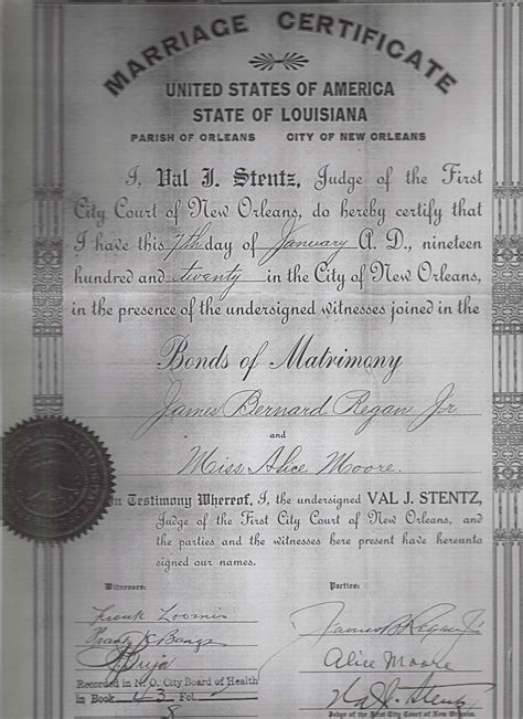 New Orleans Marriage Records Louisiana Marriage License Copy