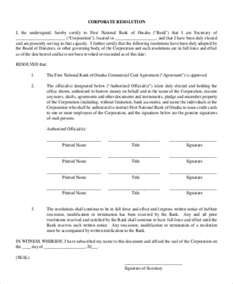 Corporate Resolution Authorized Signers Template by 9 Sle Corporate Resolution Forms Sle Templates