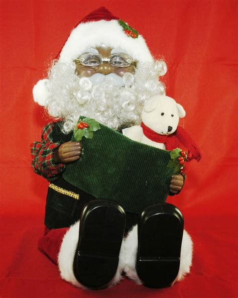 plush animated black holiday santa doll reading twas the