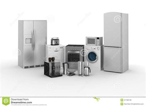 Small And Large Home Appliances 3d Render Of Household Appliances Stock Illustration